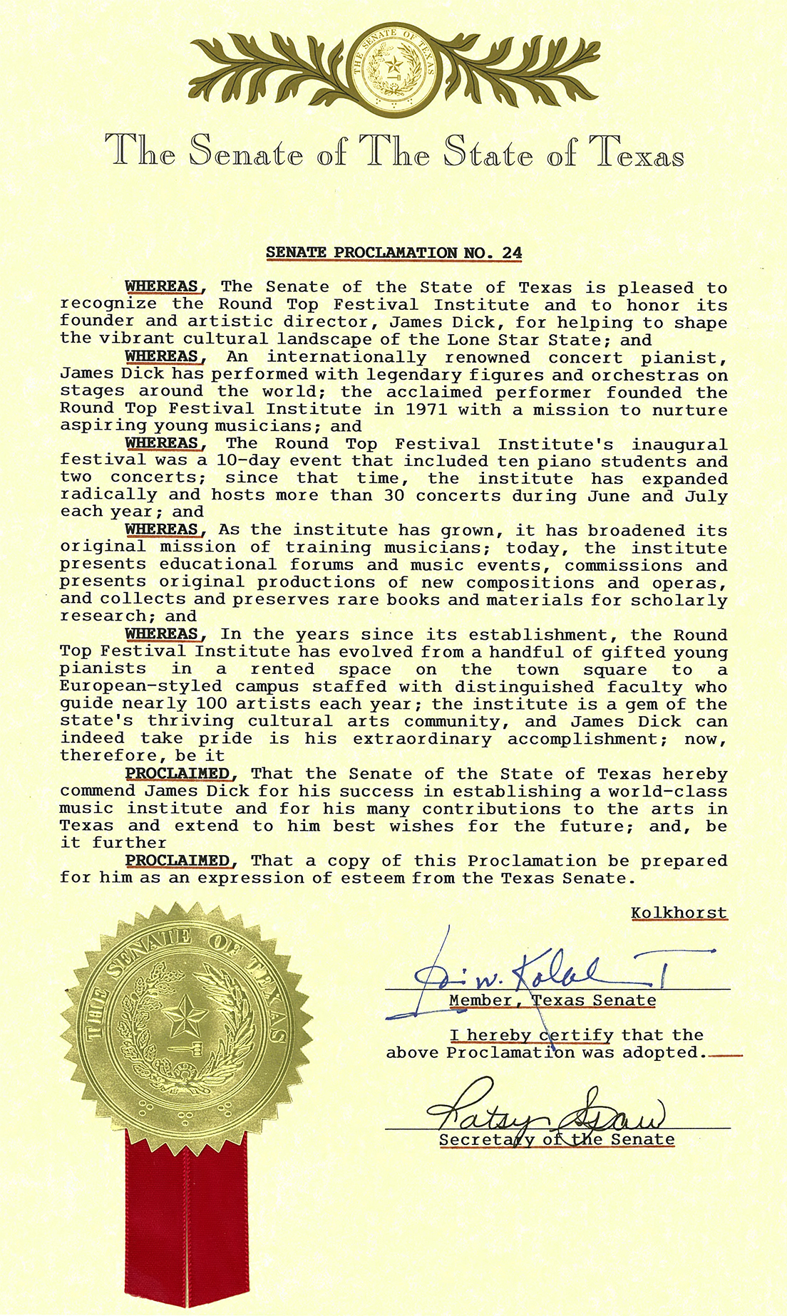 Texas Senate Proclamation No. 24