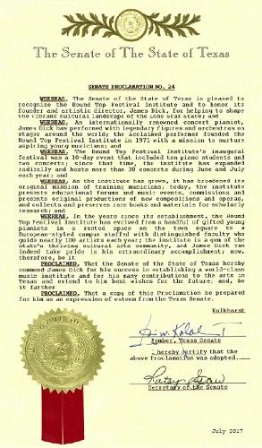 Texas Senate Proclamation Recognizes RTFI and James Dick