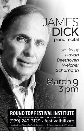 James Dick, Piano Recital at Festival Hill March 9, 2019