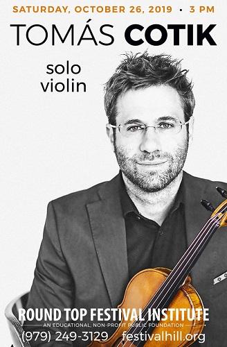 Violinist Tomas Cotik to Perform on October 26